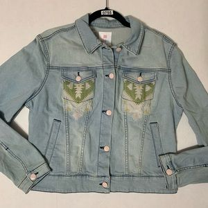 Lularoe Harvey Light Wash Embroidered Denim Jacket